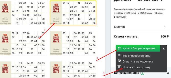 оплатить билет русское лото