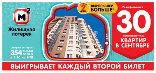 354 тираж жилищной лотереи